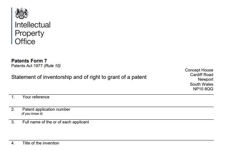 IPO Patent Form 7