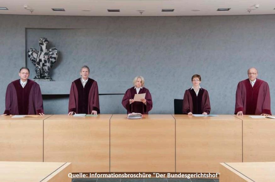 Urteilsverkündung eines Zivilsenats, Bundesgerichtshof, BGH