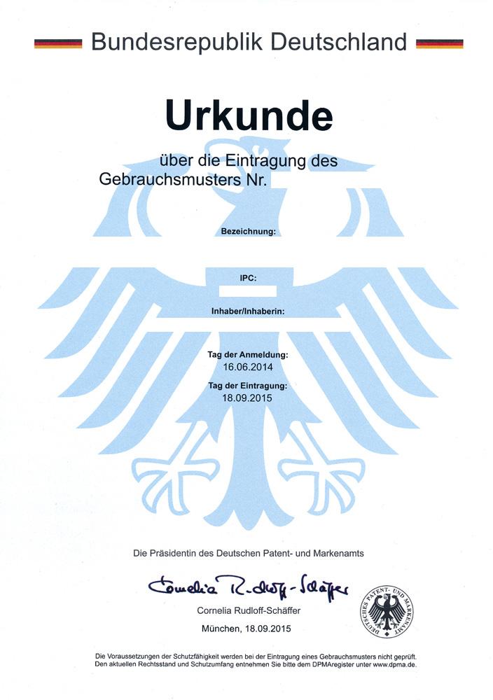 Gebrauchsmuster-Urkunde