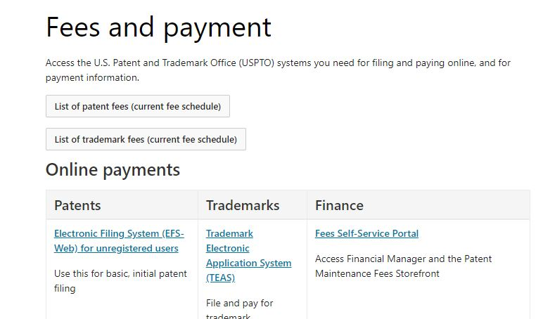 USPTO Payment Page