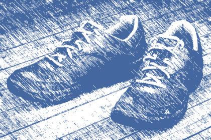Schuh mit gestrichelten Linien