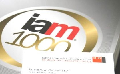 IAM Patent 1000: Dr. Tim Meyer Dulheuer again featured as a leading patent professional