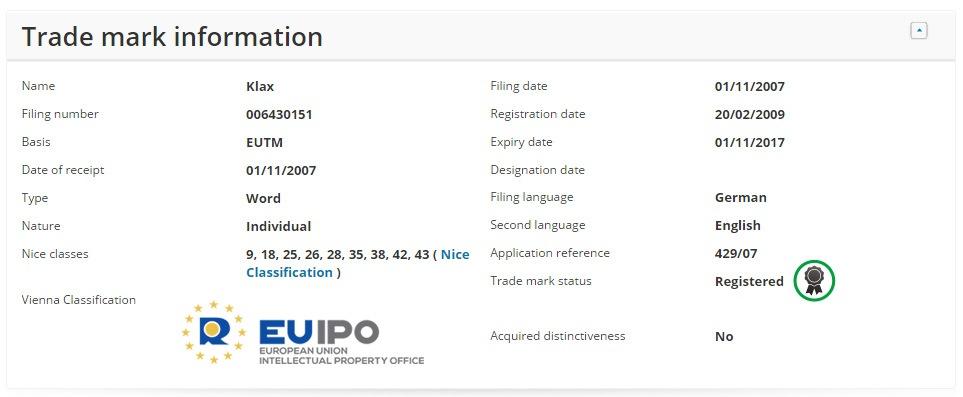 Klax-Unionsmarke-eSearchPlus-EUIPO
