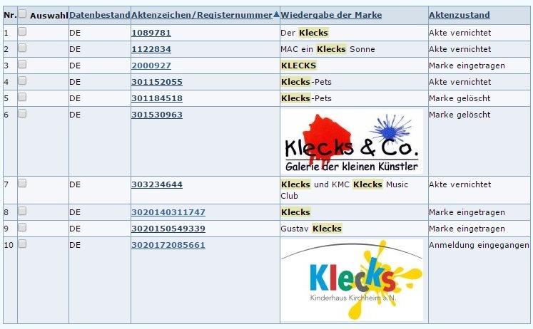 Klecks-Markeneintragungen-DPMA