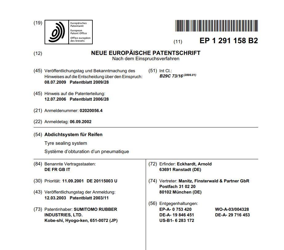 Patent EP 1 291 158